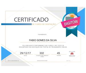 Certificado de digitação Digitow