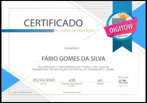 Certificado Curso de Digitação - Digitow